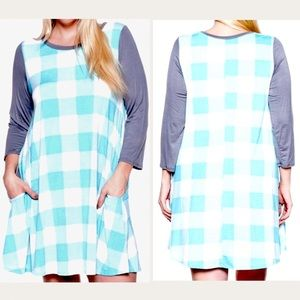 Plus Size Checked Contrast Tunic Top Dress 2X 3X